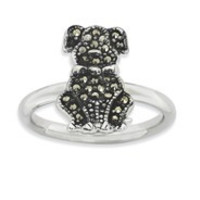 Sterling Silver Marcasite Dog Ring