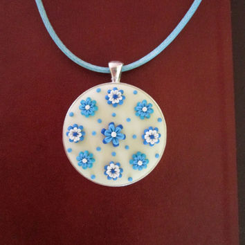 turquoise statement necklace,floral necklace,polymer clay pendant,floral cameo,READY TO SHIPjewelry,cameo necklace,anniversary gift for wife