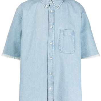 Washed Denim Short Sleeve Button-Up by Balenciaga