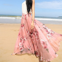 Flowers Chiffon skirt Maxi Skirt Long Skirt Maxi Dress chiffon dress Women Skirt Summer Pleat skirt Beach Skirt plus size dress