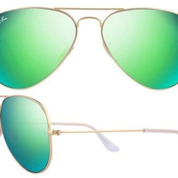 Ray Ban Aviator RB3025 112/19 Sunglasses in Matte Gold with Green Mirror Lens