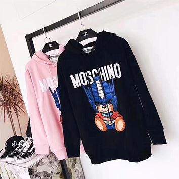 Moschino Transformers Bear Print Pullover Hoodie