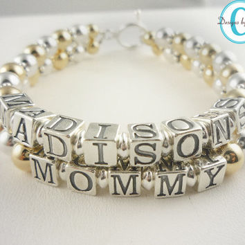 Mothers Day Bracelet Custom Mother's 14K Gold Mother's Mom Mommy Grandma Grandmother 1 2  3 strands names Beaded Personalized Custom Name