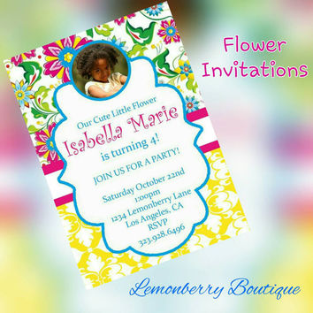 Flower & picture birthday invitations