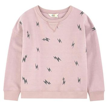 Little Eleven Paris Girls Pink Lightning Bolt Sweatshirt