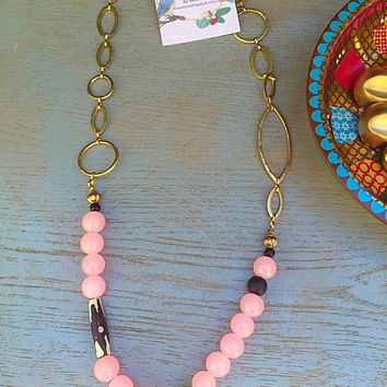 Bohemian statement necklace /Jade beadwork Necklace/ Eclectic style beads necklace