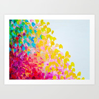 CREATION IN COLOR - Vibrant Bright Bold Colorful Abstract Painting Cheerful Fun Ocean Autumn Waves Art Print by EbiEmporium