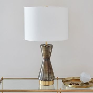 Metalized Glass Table Lamp + USB - Large (Gray)