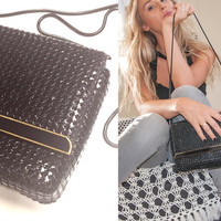 Beautiful Black and Gold Mesh Handbag with Metal Strap Vintage 70s 60s Disco Whiting Davis Purse Classy Formal PinUp Crossbody Dressy Clutch