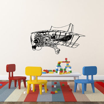 Vinyl Decal Biplane Plane Airplane In The Nursery Children Babes Kids Home Wall Decor Stylish Sticker Mural Unique Design for Any Room V892