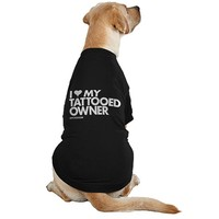 """I Heart My Tattooed Owner"" Dog Tee by Dpcted Apparel (Black)"