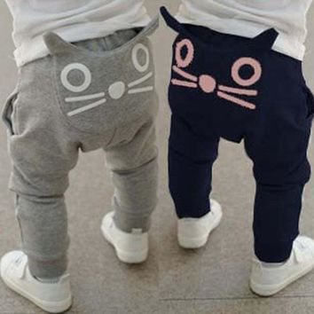 Retail 2017 new spring kids clothing boys girls harem pants 100% cotton owl trousers baby pants printed cartoon baby clothes