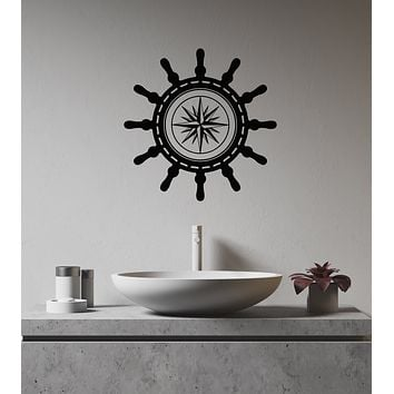 Vinyl Wall Decal Ship Wheel Compass Nautical Marine Style Interior Stickers Mural (ig5968)