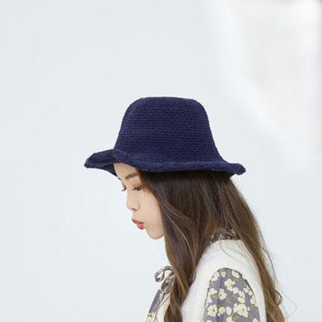 SUOGRY Women Breathable Knitted Sunscreen Fisherman Hat Casual Travel Shoppping Visor Bucket Hat