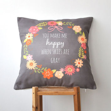 "Chalkboard Valentine Pillow, Decorative Love Pillows, Throw Pillow, Cushion Cover, Mothers Day 16"" x 16"""
