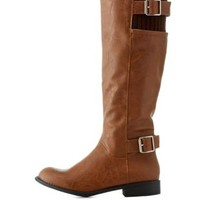 Cognac Riding Boots with Buckles & Knit Shaft by Charlotte Russe