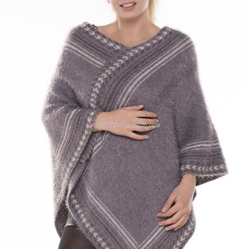 Aztec Striped Knit Soft Poncho in 4 Different Styles