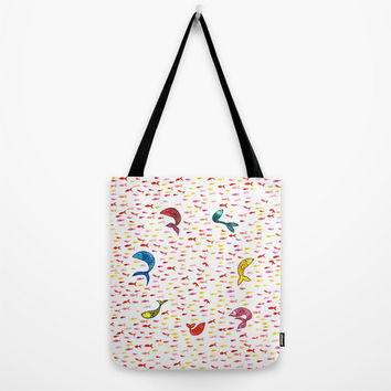 """School of Fish Tote Bag - choice of size 13"""", 16"""" or 18"""" square tote bag with watercolor fish design"""
