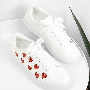 Heart Pattern Lace Up Sneakers