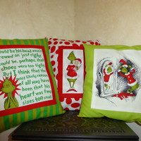 How the GRiNCH Stole Christmas PiLLOWS 16X13 BoUTIQUE HANDMaDE Beautifully Crafted - Contasting FABRIC on Back Side - Designs by Sugarbear