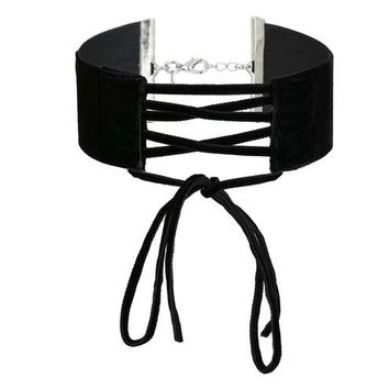 Black Tie up Check Choker - Chokers - Accessories