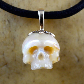 READY TO SHIP - Carved Pearl Skull Necklace - Pearl Skull with Gold Bail - Holiday Jewelry - Holiday Necklace - Skull Pearl