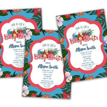 Tropical Baby Shower Invitation - Hibiscus Baby Shower Invitations -  Beach Girl Baby Shower Invites - Blue Island Neutral Baby Shower
