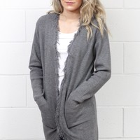 Frayed Edge Long Knit Cardigan w/ Pockets {Grey}
