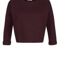 New Look Mobile | Burgundy Quilted Crop Sweater