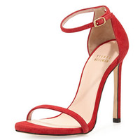 Stuart Weitzman Nudist Ankle-Strap Suede Sandal, Red