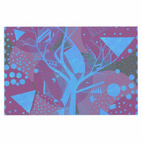 "Marianna Tankelevich ""Dancing Shapes"" Purple Blue Decorative Door Mat"