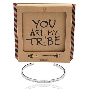 Krisly Good Vibe Tribe Bangle Bracelets for Women, Engraved Gifts with Greeting Card