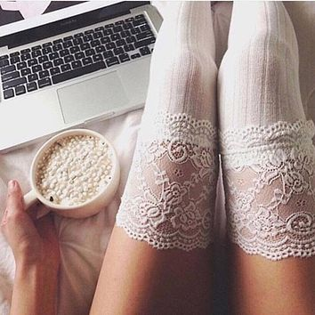 Women Lace Stockings Cable Knit Floral Over Knee Long Boot Thigh-High Warm Stocking Fashion