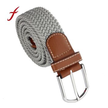 New Men Leather Braided Elastic Stretch Metal Buckle Belt Waistband mens belts luxury designer belts men high quality cinto