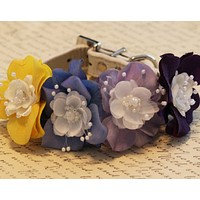 Yellow Purple Wedding Floral Dog Collar, From day to Night, floral wedding