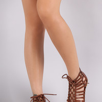 Bamboo Strappy Caged Lace-Up Flat Sandal