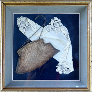 Framed Victorian Silver Mesh Purse and Hanky Ready to Hang