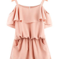 Flesh Cut Out Strappy Frilled Romper