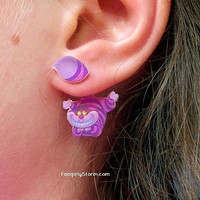 Cheshire Cat clinging earrings Alice in Wonderland two part front and back kawaii earrings