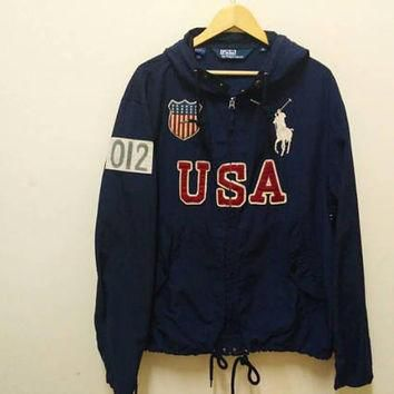 Polo Ralph Lauren Hoodie windbreaker Big Logo USA spellout American flag Embroidery vi