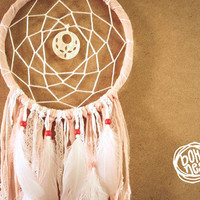 Dream Catcher - Sweet Dreams - With Shell Amulet, Pure Rose Textiles, Floral Laces and White Feathers - Boho Home Decor, Nursery Mobile
