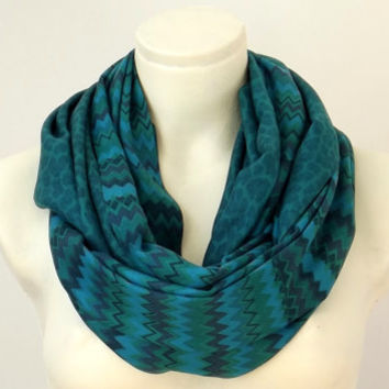 Emerald Green Shades Pashmina Scarf Double Side- Zigzag Pattern- Infinity Scarf - Leopard Print- Spring Fashion Color
