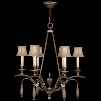 Fine Art Lamps 806640ST Villa Vista Six-Light Chandelier in Hand Painted Driftwood Finish On Metal with Silver Leafed Accents