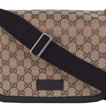 Gucci Unisex GG Guccissima Canvas Medium Messenger Bag (Beige/Brown) 449171
