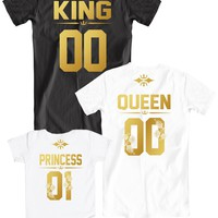 Family t-shirts King Queen Princess 01