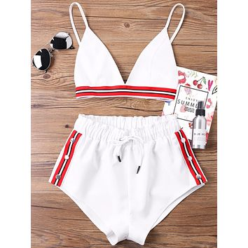 Kenancy Fashion Two Pieces Women Set Sexy Bra Crop Top with High Cut Tie Elastic Waist Shorts Suit Outfits Beachwear Women Sets