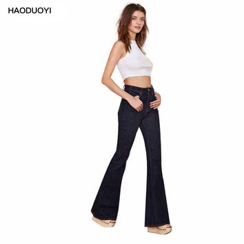 Haoduoyi Fashion Vintage Style Autumn New Solid Long Pants Dark Color Pockets Mid-Waist Jean Trousers for Women Flare Pants
