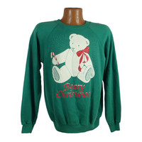 Ugly Christmas Sweater Vintage Sweatshirt Beary Bear Party Tacky Holiday size L