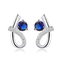 Hot Sale sterling jewelry 925 sterling silver earing blue stone stud earrings for women ear cuff 100% Hand Madeball -0330