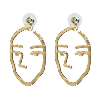 Gold Abstract Art Face Earrings